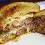 Creamy Pepper Sauced Patty Melt on Rye 2 Closeup picture on a plate