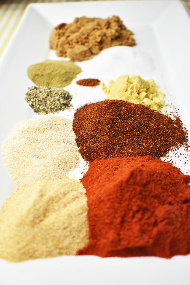 all dry rub ingredients on a rectangle white plate