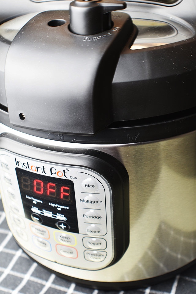 instant pot closeup on a grey and white checkered kitchen cloth