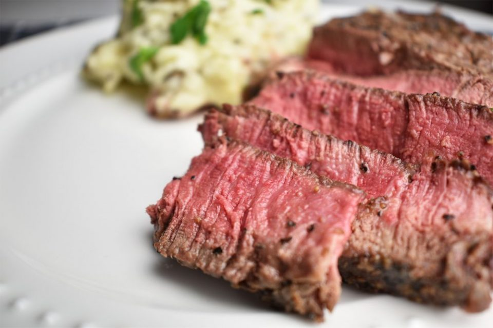 Easy Cast Iron Filet Mignon Steaks sliced on a white plate