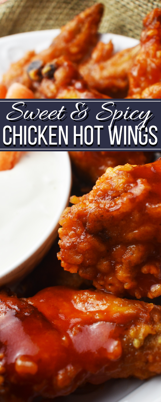 sweet and spicy chicken wings Pinterest pin 1